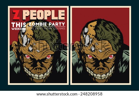 Vector party Poster. Zombie party invitation set.