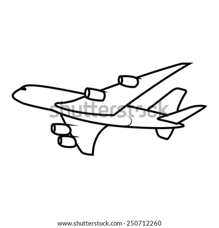 vector passenger airplane soaring - stock vector