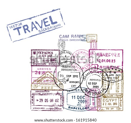 vector passport stamps in the shape of a suitcase - travel theme background - stock vector