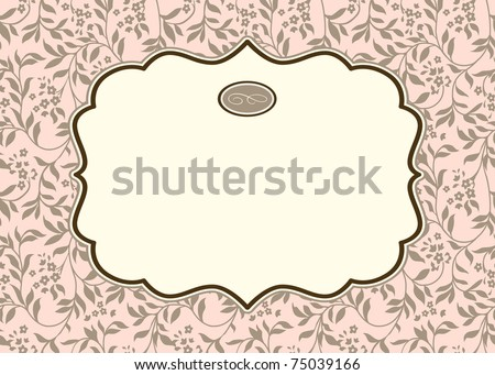 Vector Pastel Ivy Background and Ornate Frame. Easy to edit. Perfect for invitations or announcements. - stock vector