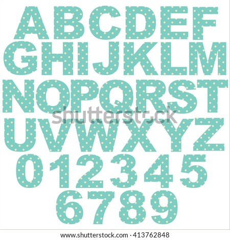 Vector - Pastel Polka Dot Alphabet jo blue background. Original letter design for scrapbooks, albums, crafts and back to school projects. EPS 10 compatible, in groups for easy editing. - stock vector