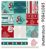 Vector patchwork Boat patterns.  Use to create quilt patches or backgrounds on various craft projects. Matching Pillows, Cushions and canvases are available from www.zazzle.com in the NuDesign shop. - stock vector