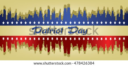 Vector Patriot Day, with stars and blue and red city buildings silhouette over khaki background.