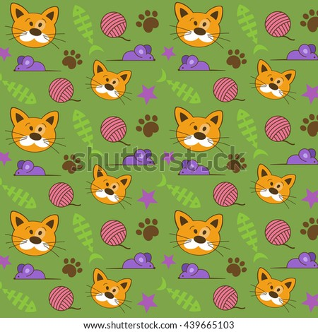 Vector pattern. Background with a cat.