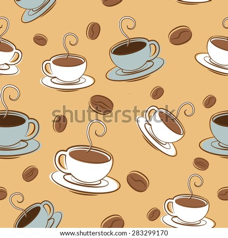 Vector pattern Coffee time. Coffee cups and names with beens - stock vector