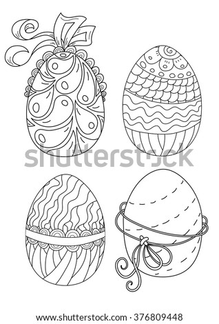 Vector pattern. Easter eggs set . Coloring book page for adult and kids. A4 format - stock vector