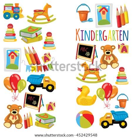 Vector Pattern Kindergarten Kids Party Toy Stock Vector 452429563 ...