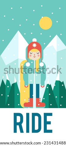 Vector pattern for your phone case with nice snowboarder (flat design) - stock vector
