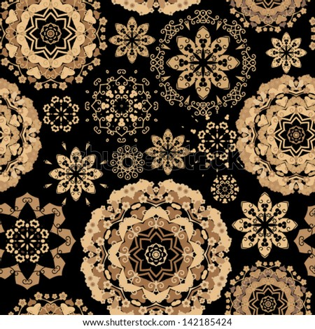 Vector pattern - gold lacy flowers - stock vector