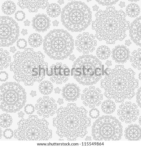 Vector pattern - gray lacy flowers - stock vector