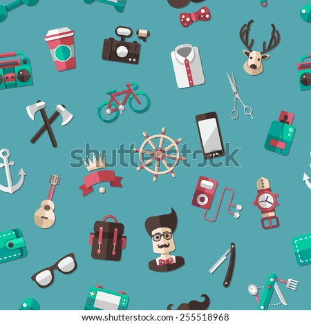 Vector pattern illustration of modern flat design hipster icons - stock vector