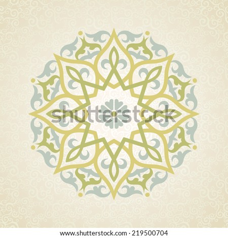 Vector pattern in Eastern style. Ornate element for design and place for text. Ornamental lace pattern for wedding invitations and greeting cards. Traditional pastel decor on light background. - stock vector