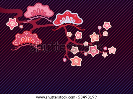 Vector pattern including ethnic Japan motif with multicolored typical elements