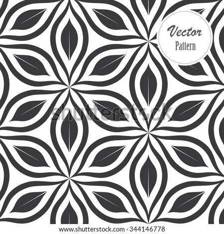 Vector pattern. Monochrome ornament with abstract flower. - stock vector