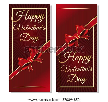 Vector pattern of a leaflet with a congratulatory inscription to the Valentine's day. Dark red background with ribbon and bow for Valentine's Day. Happy Valentine's Day. - stock vector