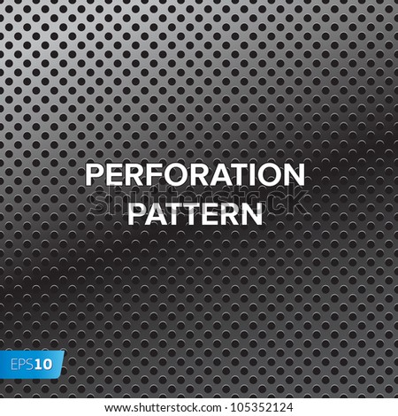 Vector pattern of perforation metal background - stock vector