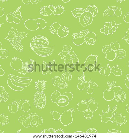vector pattern of seamless background with fruits - stock vector