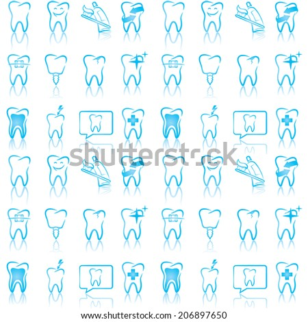 Vector pattern of smiling dental icons - stock vector