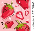 vector pattern of strawberry - stock vector