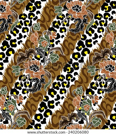 vector pattern on tiger background. - stock vector