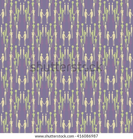 Vector pattern - people. Seamless background
