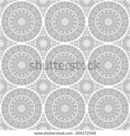 Vector pattern seamless. Black-white ethnic ornament. Arabesque style - stock vector