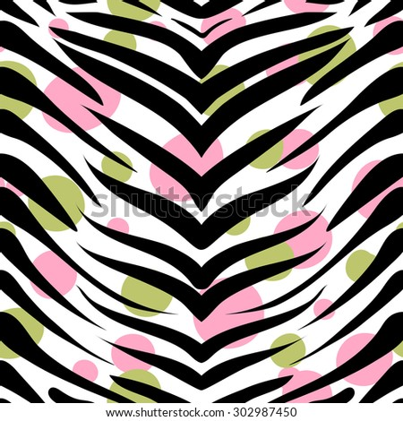 vector pattern, seamless wallpaper with a picture of a zebra skins and colored spots - stock vector