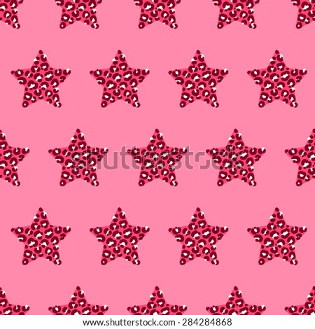 vector pattern, seamless wallpaper with stars in leopard spots - stock vector
