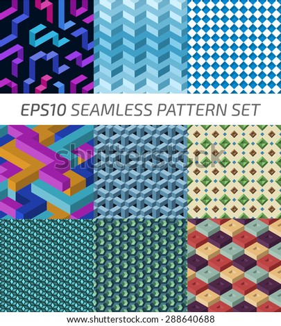 Vector pattern set. Seamless backgrounds.