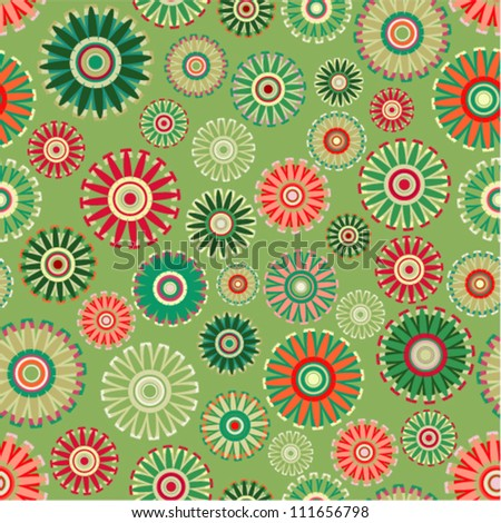 Vector pattern - vintage flower seamless (green floral background) - stock vector