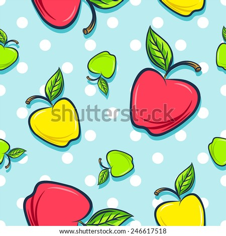 Vector pattern with apples - stock vector