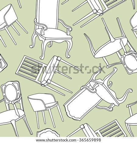 Vector pattern with armchairs - stock vector