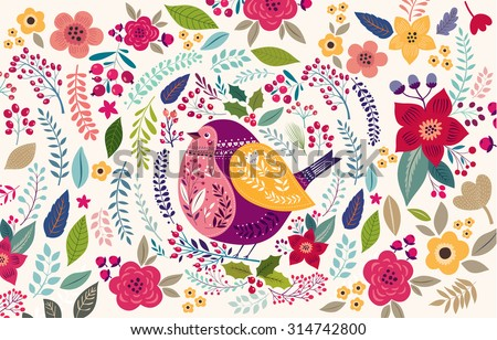 Vector pattern with beautiful bird - stock vector