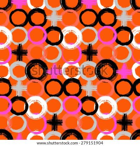 Vector pattern with big bold painted circles and crosses. Colorful hand drawn print for summer fall fashion with random round shapes in 1950s style. Multiple bright colors pink, orange, black, white - stock vector