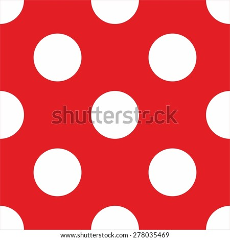Vector Pattern With Big White Polka Dots On Red Background For Tile Decoration Wallpaper