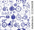 Vector pattern with collection of bycicles - stock photo