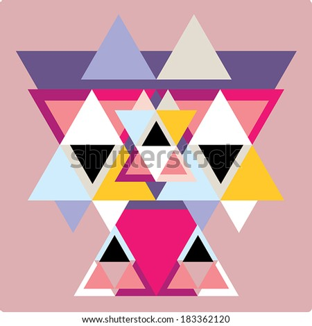Vector pattern with colorful geometric shapes, triangles,lines.Colorful backdrop retro style banner. - stock vector