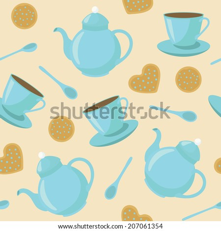 vector pattern with cups of tea, biscuits, teapots and teaspoons - stock vector