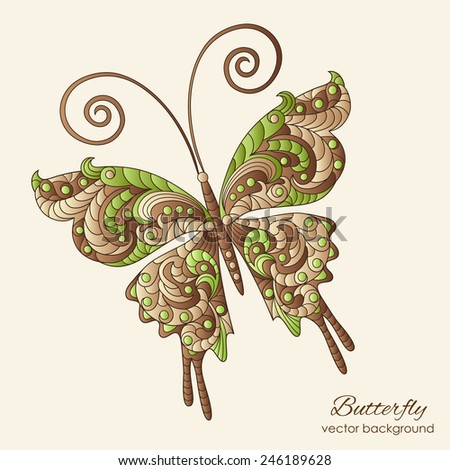 Vector pattern with  fantasy butterfly, pattern can be used for wallpaper, pattern fills, web page background, surface textures