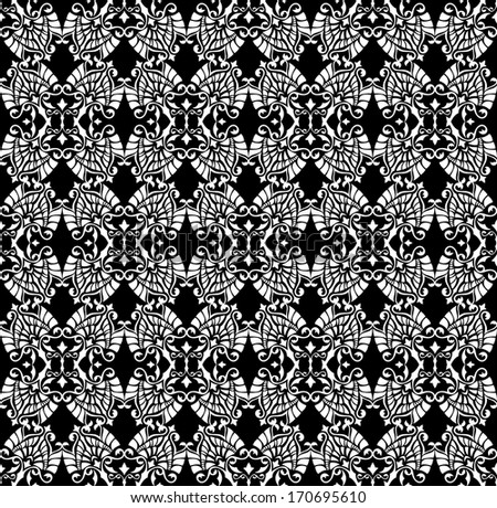 Vector pattern with floral and geometrical ornament. Decorative seamless background isolated on black