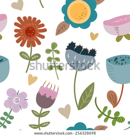 Vector pattern with flowers and leaves.