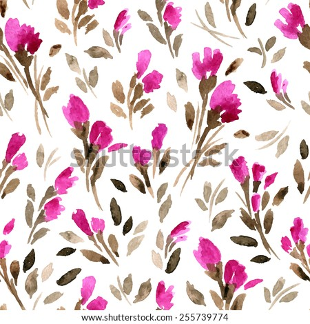 Vector pattern with flowers and plants.  Floral decor. Watercolor vector background. - stock vector