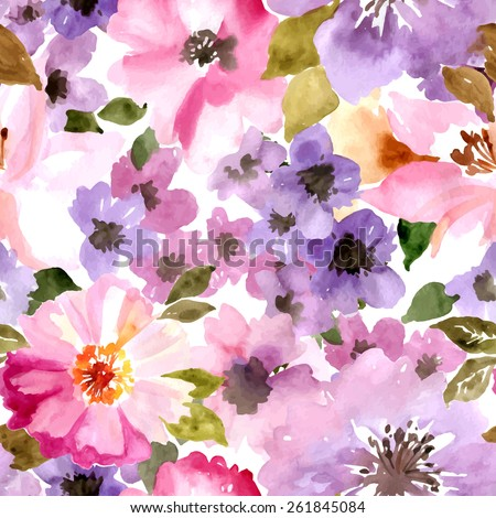 Vector pattern with flowers and plants. Watercolor floral illustration.Seamless pattern. - stock vector