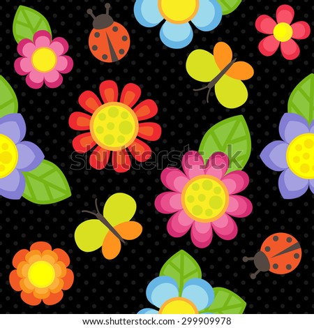 Vector pattern with flowers, butterflies and ladybugs - stock vector