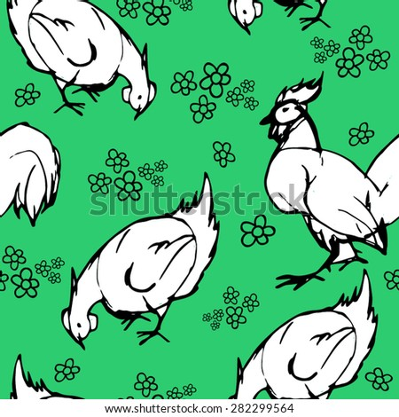 Vector pattern with hand drawn  chicken and rooster. - stock vector