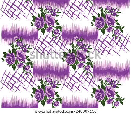 vector pattern with hand drawn purple flowers.beautiful purple background. - stock vector