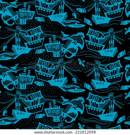Vector pattern with hand drawn sail boats. Black background.  - stock vector