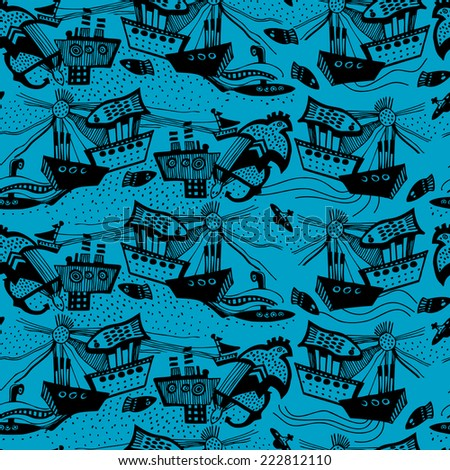 Vector pattern with hand drawn sail boats. Blue background.  - stock vector