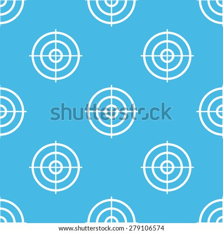 Vector pattern with image of aim symbol, on blue background - stock vector