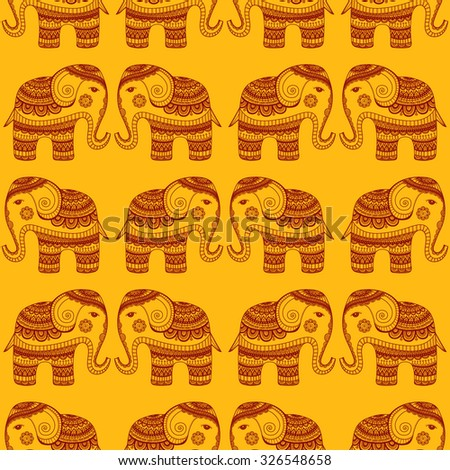 Vector pattern with indian elephants. Hand drawn doodle elephants with tribal ornament. Yellow and red colors. Seamless background. - stock vector